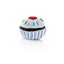 Cupcake Rattle pale blue