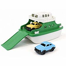 Green Ferry Boat with Cars